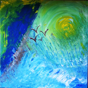 Der fünfte Tag (Karin Sinne, Acryl, 40x40 cm)