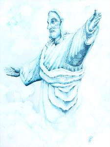 Jesus (Petra Hoffmann, nach einer steinernen Christus-Figur, die in Cusco/ Lima auf einem Hügel über der Stadt steht)